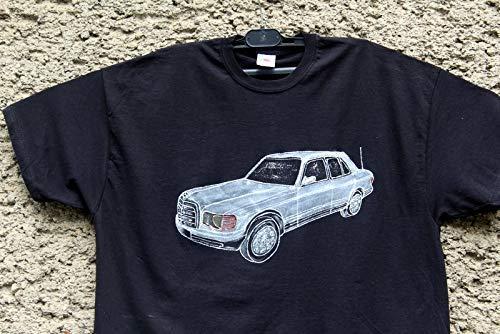 Handbemalte Mercedes Benz W 126 2.8 SEL, Kleidung Mercedes für Männer und Frauen, T-Shirt Mercedes Benz, Das Beste oder nichts, Herrenauto, Hemd Oldtimer, Größe XL.