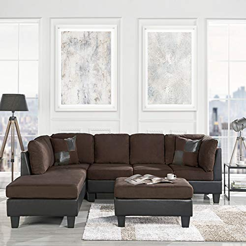 3 Piece Modern Microfiber Faux Leather Sectional Sofa with Ottoman, Color...
