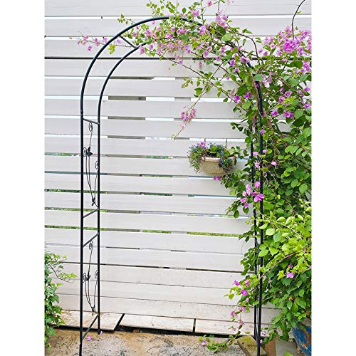 Large 2.3M Black Metal Garden Arch Heavy Duty Strong Tubular Arbor for Roses Climbing Plants Support Archway Garden Decoration