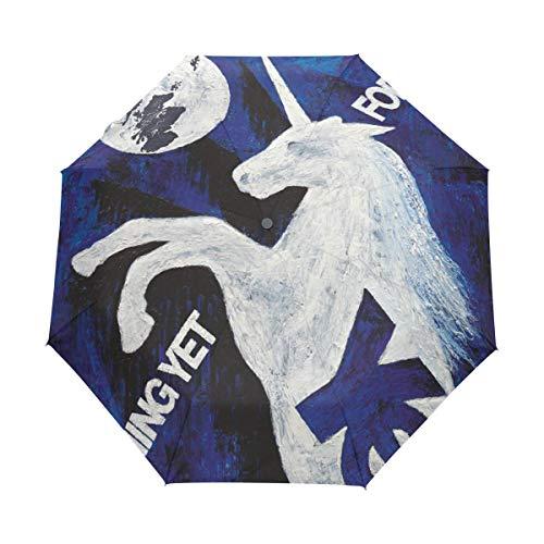 Sombrilla Paraguas Compacto Especial Fácil de Llevar Resistente al Viento Unicornio Luna Que Viene Bloqueador Solar