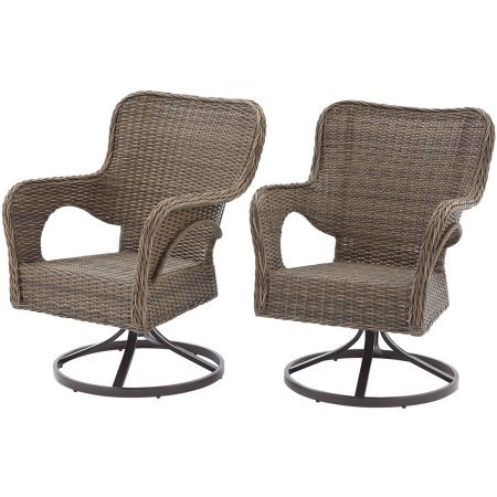 Better Homes and Gardens Camrose Farmhouse Mix and Match Wicker Swivel Chairs, Brown Finish and Weather Resistant Wicker Set of 2