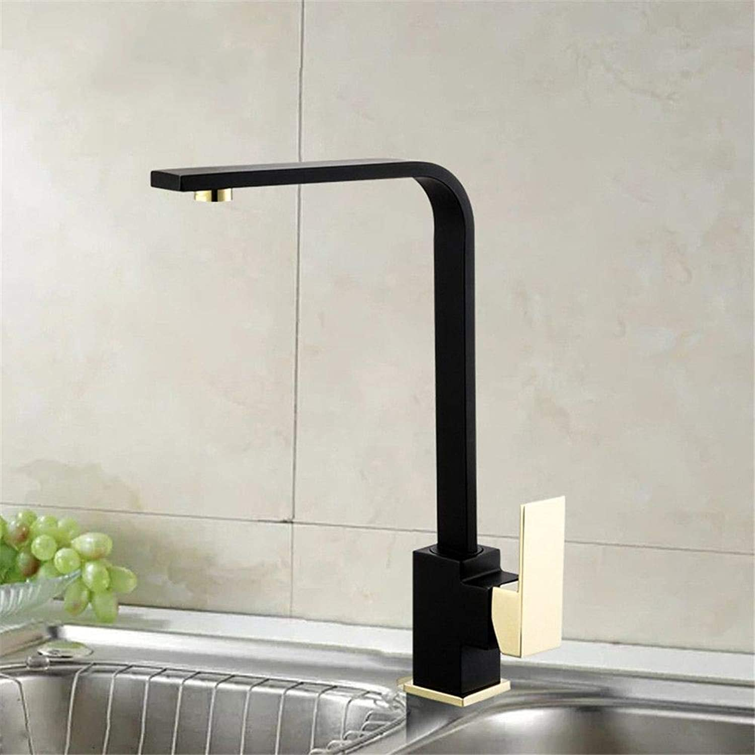 YAWEDA Copper Kitchen Faucet Kitchen Sink Faucet 7 Words Sink Copper Material Kitchen Hot and Cold Water Mixer Faucet Black Single Handle redatable Lead-Free Faucet