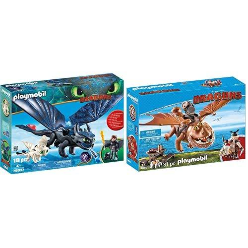 Playmobil Dragons 70037, Sdentato E Hiccup Con Baby Dragon, Dai 4 Anni & Dragons 9460, Gambedipesce E Muscolone, Dai 4 Anni
