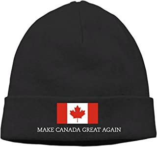 Mens&Womens MAKE CANADA GREAT AGAIN FLAG Outdoor Daily Beanie Hat Skull Cap Black