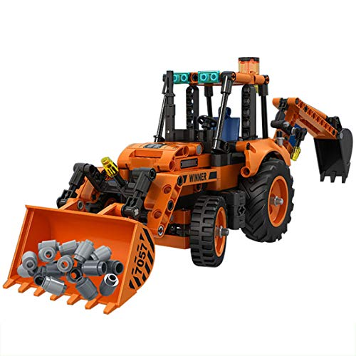 HENG 377Stk Technik Baufahrzeug Multifunktionale Baggerlader Modellbausteine Spielzeug, Kompatibel mit Lego