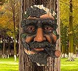 Nother Old Man Tree Face Sculpture, Tree Face Wall Plaque Garden Decoration Fun Tree Sculpture Tree Hugger Statue Outdoor Yard Art Ornament (2#)