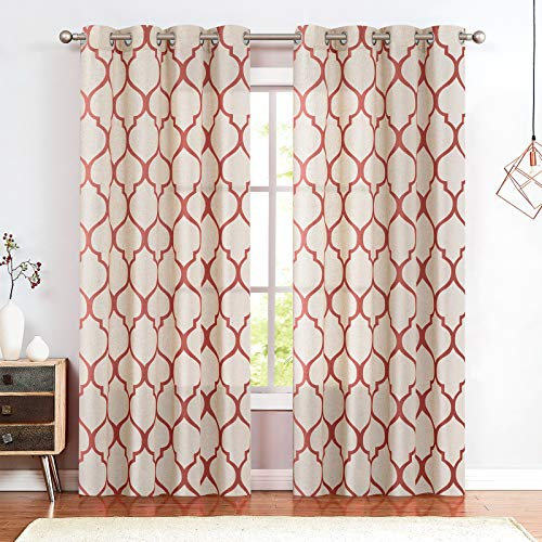 jinchan Printed Curtain Moroccan Tile Linen Textured Curtains Panels Bedroom Living Room Lattice Window Treatment 2 Panel Drapes 84 Inches Long Terrared on Beige