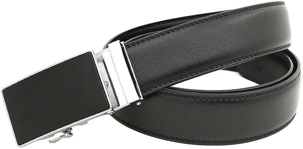 Men's Black Leather Belt Over item handling 35