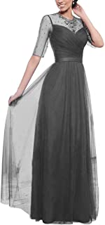 Women's Lace A-line Half Sleeves Mother of The Bride Dresses Long Tulle Prom Evening Gown