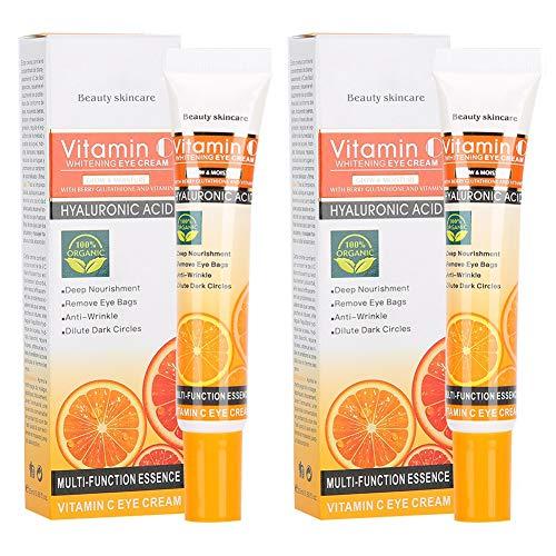 2 Stück 25 ml Vitamin C Augencreme Anti-Falten-Augenringe Entfernung Feuchtigkeitsspendende Augencreme, reduziert Falten, Krähenfüße, Schwellungen, Augenunter- und Augenringe