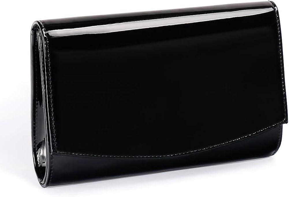 Women Patent Leather Flap Clutch Classic Elegant Evening Bag Chic Dress Purse, Fashion Purses, Handbag Solid Color