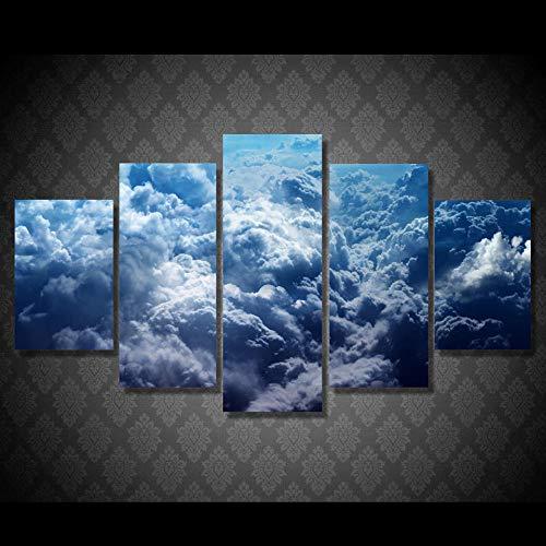 Rkmaster-Print kunst canvas schilderij decoratie afbeelding 5 stuks blauwe hemel en witte wolken landschap restaurant moderne woonkamer muur plakfolie
