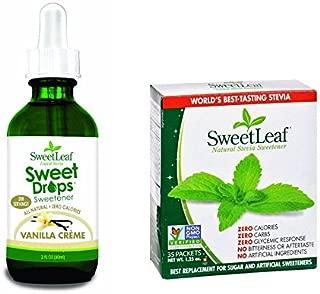 Sweet Leaf Stevia Vanilla Creme Flavored Liquid Stevia 2 Oz + Sweetener, 35 Packets