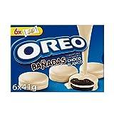 Oreo Bañadas Galletas de Cacao Rellenas de Crema y Bañadas en Chocolate Blanco, Pack de 6 Bolsitas, 246g