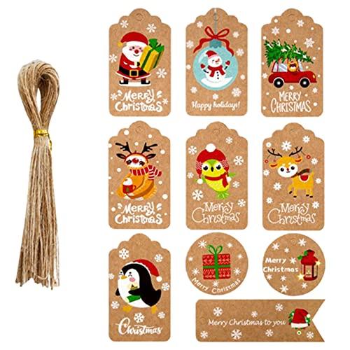 fdsfd Etiquetas, Papel Kraft de Navidad Etiquetas de Regalo con 50 Gratis de la Cuerda de Yute, Listados de Embalaje de Regalo para Fiesta de Cumpleaños Boda Navidad Día de Acción