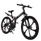 HUAXU 26 Inch High-Carbon Steel Hardtail Mountain Bike, 【U.S. in Stock】 Full Suspension Road Bike 21 Speed 700c Mountain Bikes for Men or Women