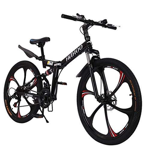 Bicicleta de montaña plegable, 26 pulgadas deportes al aire libre bicicleta MTB de acero de alto carbono, llanta de aluminio, desviador trasero de 21 velocidades (Negro-T01)