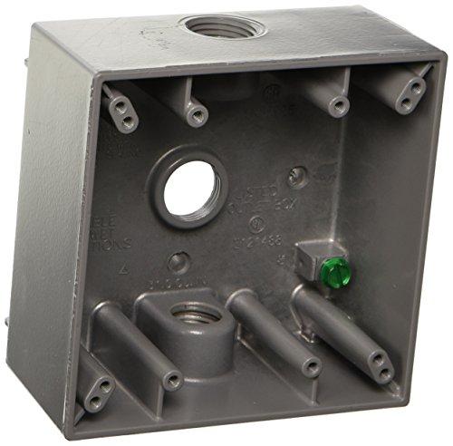 Hubbell 5333-0 Bell Raco Weatherproof Box, 2 Gang, 18.3 Cu-In X 4-1/2 In L X 2-3/4 In W X 2 In D, 4-1/2' x 4-1/2', Gray