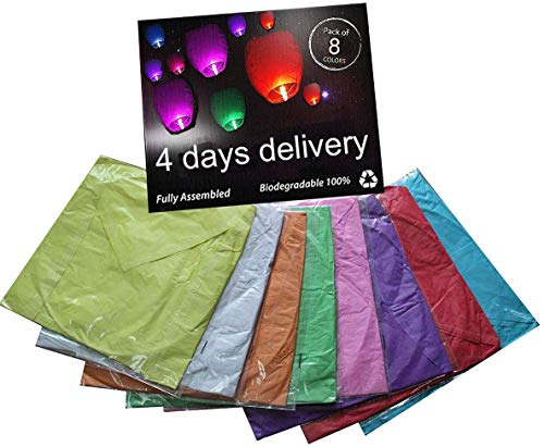 Chinese Sky Lanterns-8 Pack, No Assembly Required(no Metal Wires) Mix Wish Lights (Huge)