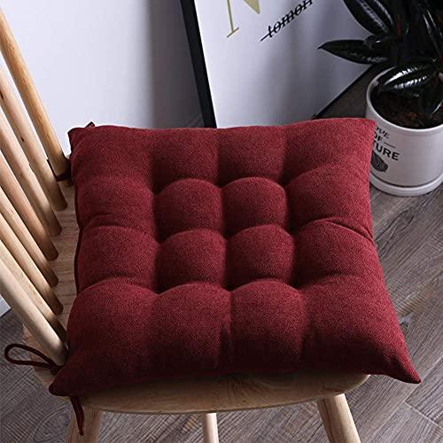 DIELUNY Almohadillas de silla de color sólido, almohadillas de asiento para interiores y exteriores, acolchadas, transpirables, cojines para sillas con corbatas, vino rojo, 45 x 45 cm