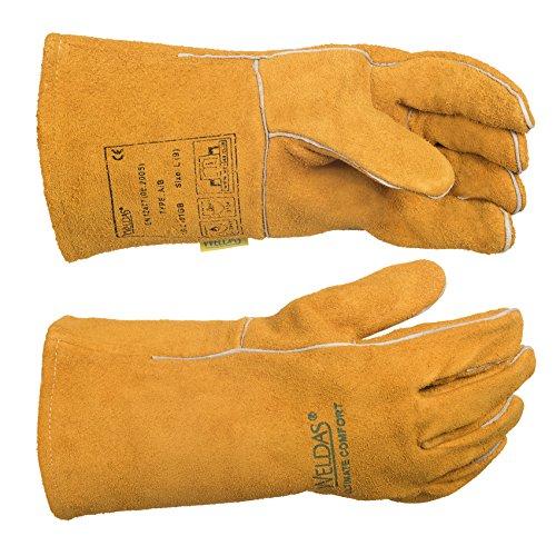 WELDAS Schweißhandschuhe, 10-2101GB, Flügeldaum, Kuhschulter, Spaltleder, MIG/MAG Handschuhe, Größe: L & XL, 9 (L), 2