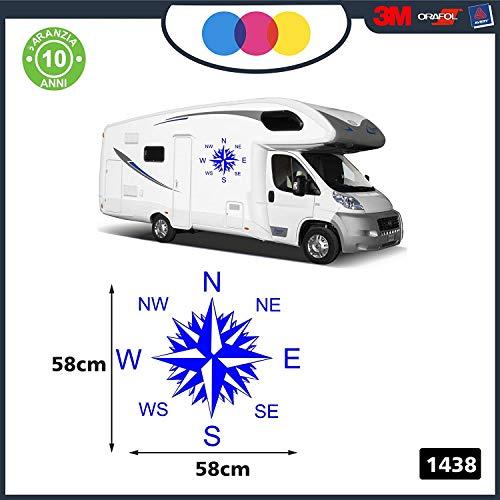 Adesivi per Camper - 2 Pezzi Rosa dei Venti - Adesivi per Camper - Caravan roulotte - Accessori Camper, Stickers, Decal - per Camper, FURGONI E Van - cod. 1438 Blu 58 x 58 cm