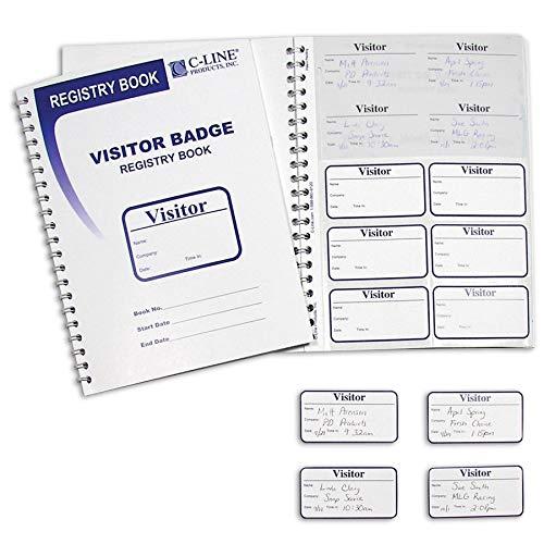 C-Line Visitor Badges with Registry Log, 150 Badges per Book, 1 Registry (97030)
