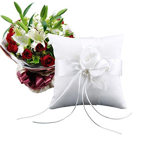ZREAL Bourgeons perlas nupcial ceremonia de boda bolsillo anillo cojín cojín portador con cintas 15 x 15 cm decoración de boda, accesorio elegante para ceremonias de boda