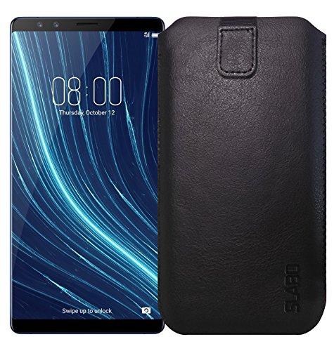 Slabo Schutzhülle für Archos Diamond Omega Schutztasche Handyhülle Hülle mit Magnetverschluss aus Kunstleder - SCHWARZ | Black