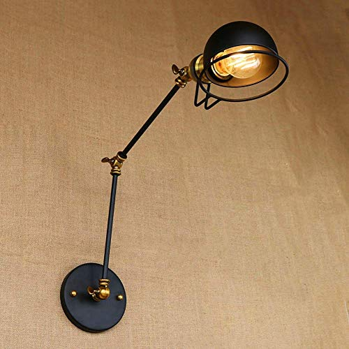Wandlantaarn, wandlamp van kristalglas, wandlamp spiegellamp, zwart, verlichting van de lamp met arm en scharnier van smeedijzer, loft, retro-arm, flexibele verlichting 25 + 25CM