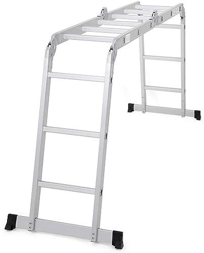 wholesale Giantex 12.5 Ft Multi Purpose Folding Step Ladder Platform Extendable Scaffold Ladder EN131 Aluminum 7 in high quality 1 Extension Step Lightweight 330LB (12.5 online sale Ft) sale