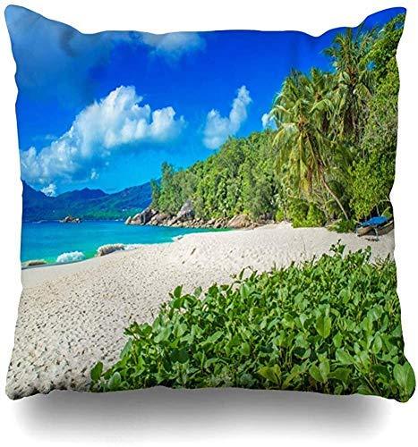 Doble Cojines Fundas 18' Deportes Blue IslANSE Soleil Paradise Beach en la Naturaleza escénica Tropical Beachcomber Recreation Resort Funda de Almohada Suave para la Piel