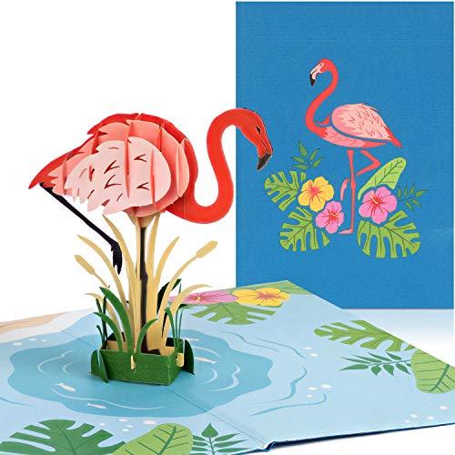 PaperCrush Pop-Up Karte Flamingo - Lustige 3D Geburtstagskarte für Teenager, Mädchen oder Beste Freundin - Besondere Glückwunschkarte zum Geburtstag für Frauen