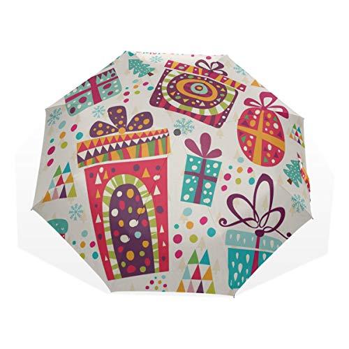 Mens Sun Umbrella Frohe Weihnachten Geschenkkarte 3 Fold Art Umbrellas (außerhalb Druck Sonnenschutz Regenschirm für Frauen Sonnenschirm Compact Kleinkind Regenschirm