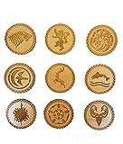 Derwent Laser Craft Juego de 9 Posavasos de Madera inspirados en Juego de Tronos (Cereza)