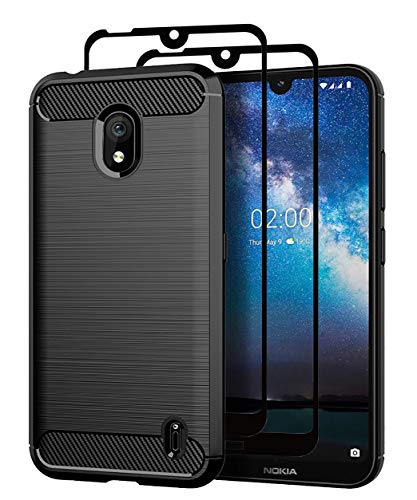 Teayoha Case for Nokia 2.2, with Tempered Glass Screen Protector  2 Pack], Carbon Fiber Scratch Resistant, Shock Absorption Soft TPU Drawing Protective Cases Cover - Black