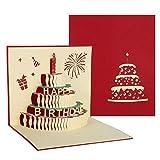 hellomagic 3D Pop Up Grußkarten Geburtstag, Geburtstagskarte mit Schönen Papier-Cut und Umschlag, Geschenk für Ihre Familie, Freunde und Liebhaber Special (Rot)
