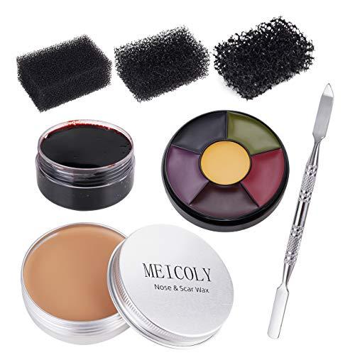 Meicoly Moulding Scar Wax Special Effects Halloween Set Body Paint Fake Wound Makeup Skin Wax,6 Color Bruise Wheel, Spatula, Black Stipple Sponge,Coagulated Blood Gel,02