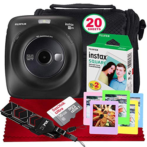 Fujifilm Instax Square SQ20 Hybrid Instant Camera (Black) - Basic Accessory Bundle with 20 Sheets of Instant Film + 16GB Micro sd Card + Case + Xpix Camera Strap and More. (USA Warrantty)