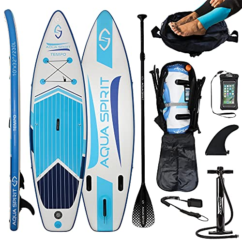 AQUA SPIRIT 300x80x12.5cm ISUP Tabla Hinchable de Paddle Surf Sup con Paleta Ajustable de Aluminio, Peso Máximo de Carga: 115KG