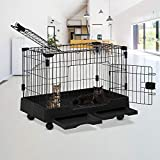 Cat Cage Indoor Cat Playpen Kennel Crate Two Door Cat House Furniture Pet Enclosure Beds Removable Tray Cat Kennel with Wheels for Cats,Dogs,Hamsters,Rabbits and Other Small Animals,Black