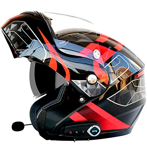 Motocicleta Cascos Bluetooth Cascos abatibles hacia Arriba Visera Doble antivaho Casco para Adultos Motocross, Altavoz Incorporado con micrófono, certificación ECE G,L(59~60cm)