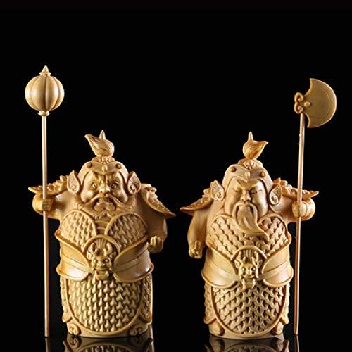 YGDH Hmm-ha Segundo Generales La Estatua De Buda De Puerta Dioses Guardianes Hermanos Estatuilla De Madera Tallada Colgante De La Decoración del Hogar Miniatura (Color : Normal, Size : 9.5cm)