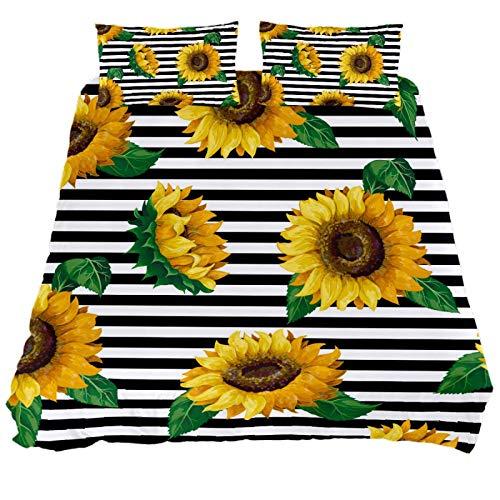ASIGA Sunflower Double Duvet Cover Set 3 Pieces Bedding Set for Women Men,Bedroom Bed Linen