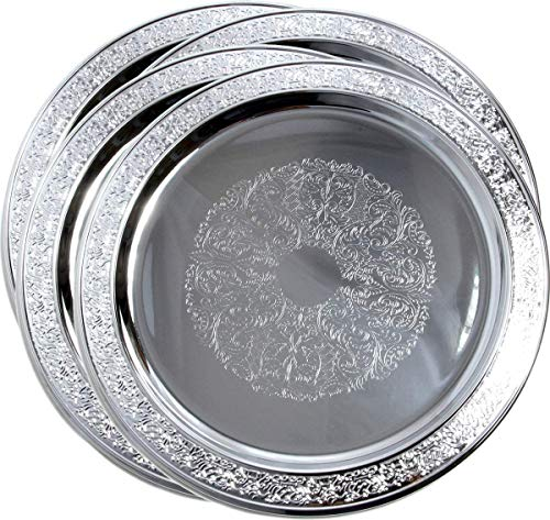 Maro Megastore (Pack of 4) 33 cm Round Floral Catering Chrome Plated Serving Tray Mirror Plate Platter T471-13-4PK