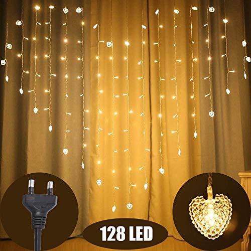 Marvelights Rideau Guirlande Lumineuse, 2M de Large, 1,5M de Hauteur 128  LED Coeur Rideau Intérieur Guirlande Lumineuse avec 8 Modes éclairage ...