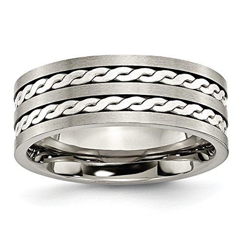 Alianza de boda de titanio y plata de ley, 8 mm, cepillada...
