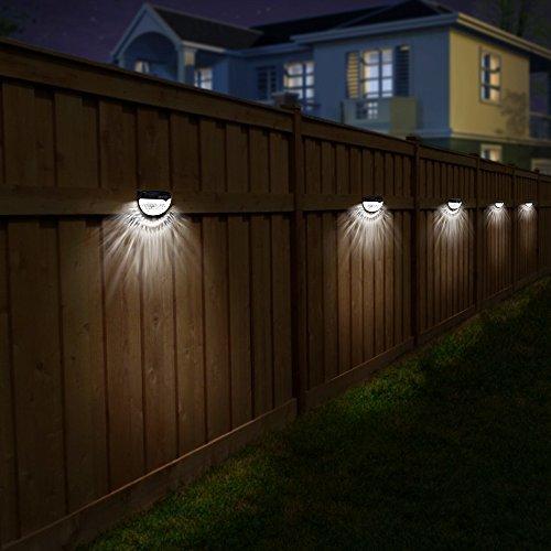 OTHWAY Solar Fence Post Lights Wall Mount Decorative Deck Lighting, Black, 4 Packs