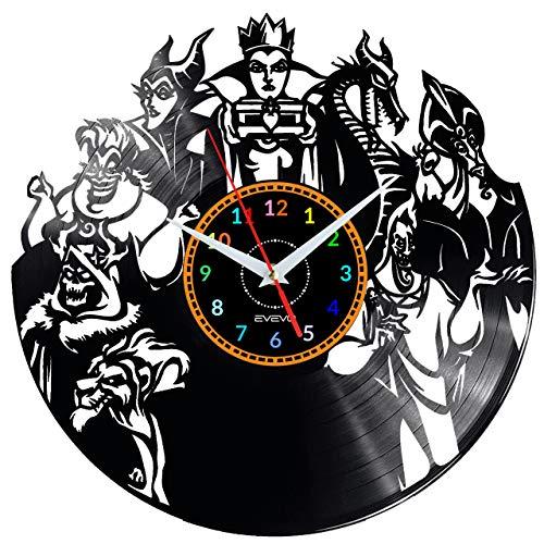 EVEVO DISNEY VILLAINS - Reloj de pared de vinilo con diseño de Disney Villains, hecho a mano