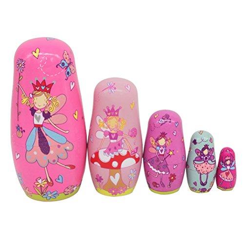 ULTNICE 6pcs russische Nesting Dolls Matroschka Holz Engel Stapeln Spielzeug Puppe